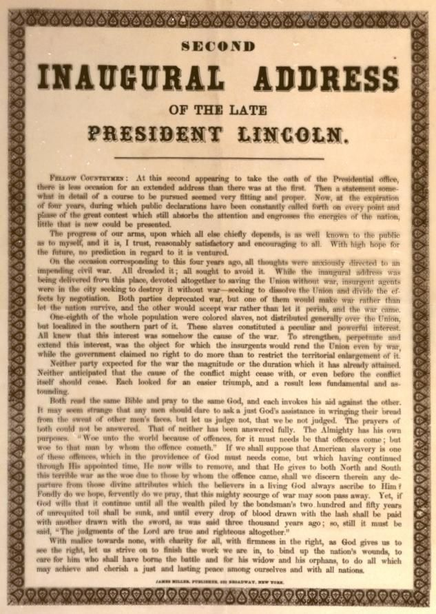 lincolns second inaugural speech essay View essay - lincoln's second inaugural address essay from english ap english at amador valley high lincoln's second inaugural address essay 2c shortly before the end of the american civil.