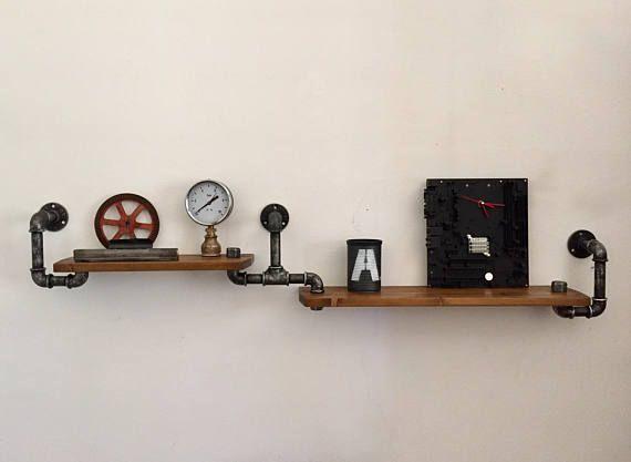 Mensola in tubi idraulici Vintage Industriale