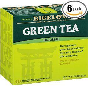 Bigelow Green Tea, 40-Count Boxes (Pack of 6) #Tea #Greentea #Coffee #Foods #Sweets #Yummy #Cake #Wine
