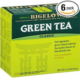 Bigelow Green Tea, 40-Count Boxes (Pack of 6) #Tea #Greentea #Coffee #Foods #Sweets #Yummy #Cake #Wine