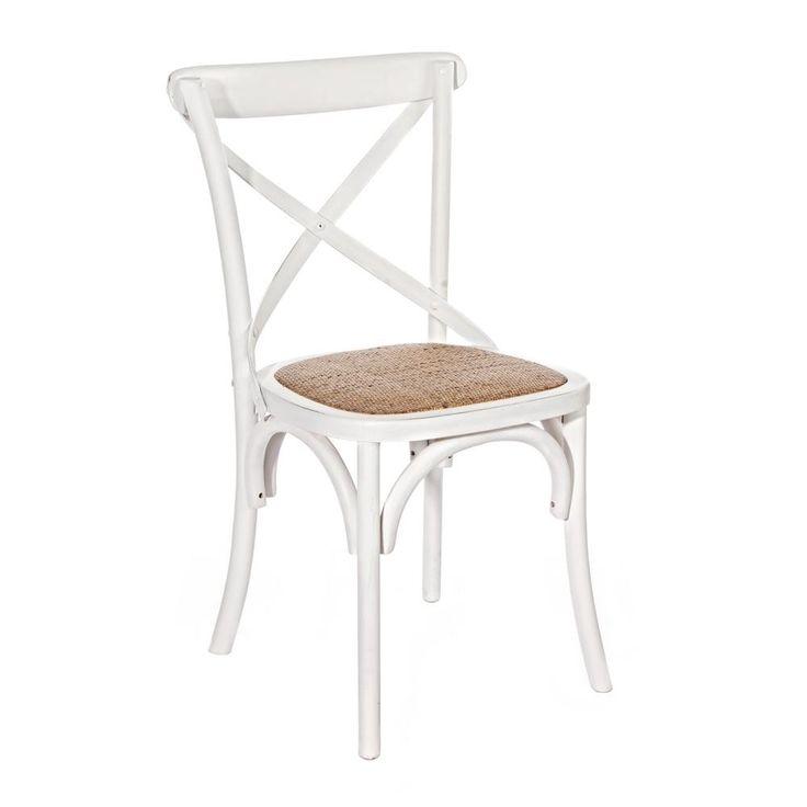 Cross Stuhl weiß von #Bizzotto  ab 163,00 € Das klassische Design sorgt für ein tolles Ambiente und passt mit seinem Designwunderbar in jeden Raum.  #Massivholzmöbel #Vollholzmöbel