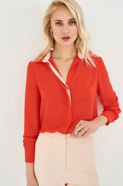 Mercan Pat Detaylı Kadın Gömlek