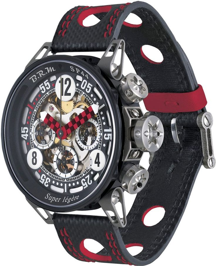 B.R.M Watch SP-44 Black And Red Hands #add-content #basel-17 #bezel-fixed #bracelet-strap-leather #brand-b-r-m-watches #case-material-aluminium #case-width-44mm #chronograph-yes #delivery-timescale-call-us #dial-colour-black #gender-mens #luxury #movement
