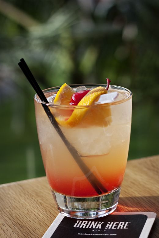 Try the Jameson & the Giant Peach at Marina Kitchen, made with Jameson, Peach Schnapps, Lemon Juice, Simple Syrup, Sprite, and Grenadine. #drink #cocktail #sandiego
