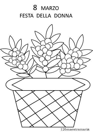 mimosa nel cestino Mimosa da colorare. Disegno per la festa delle donne