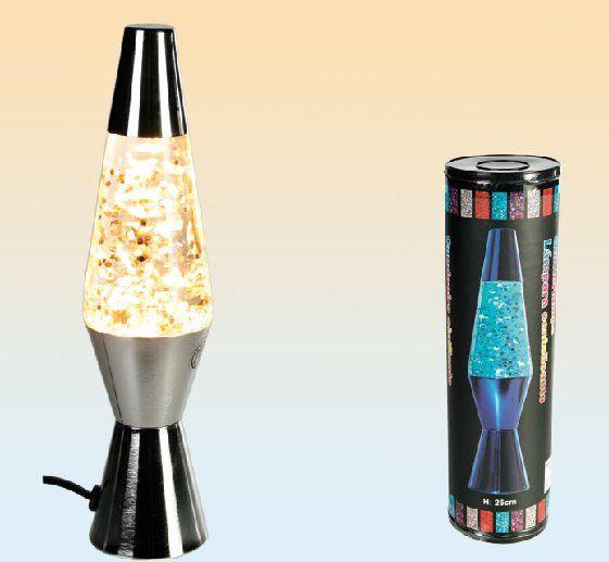 Formschöne Glitterlampe. Standfuß und Kappe verchromt. Lieferung inkl. Leuchtmittel! Glaskörper Ø: 62mm Höhe: 260mm Leuchtm.: 230V/15W E14