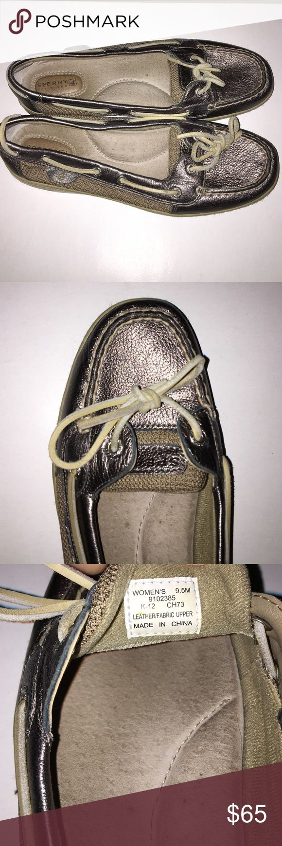 Sperry Top-Sider Women's Angelfish Pewter Metallic Sperry Top-Sider Women's Angelfish Pewter Metallic  Boat Shoe. Worn a couple times. Good condition Women's U.S. Size 9.5 Sperry Top-Sider Shoes Flats & Loafers