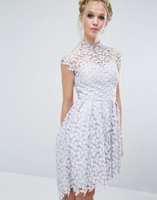 Chi Chi London High Neck Dress in Cutwork Lace