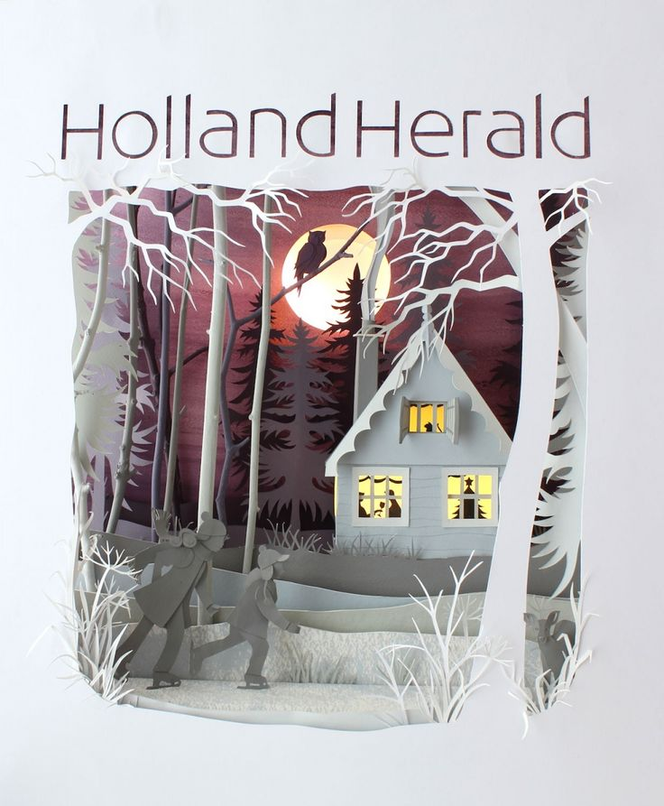 "Helen Musselwhite - Handsome Frank Illustration Agency ""I was commissioned by Holland Herald the infilght magazine of KLM to produce a scene for the cover of their winter 2012 edition. My inspiration was the frozen countryside canals and the traditional wooden houses on the canal banks. The scene was lit from behind to give the sky a dusky glow and the house was lit with little LEDs to silhouette the happy inhabitants!"""