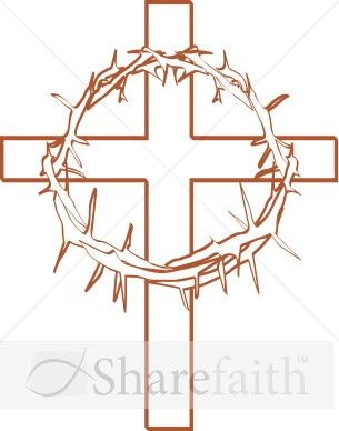 Letters & Arts - Artists created the Crown of Thorns with Cross Outline design as part of our Cross Clipart collection.