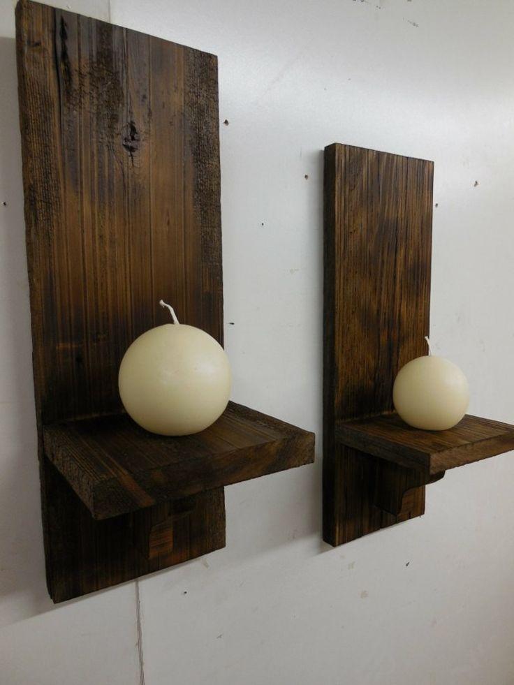 bougies décoratives boules et bougeoirs muraux en bois massif