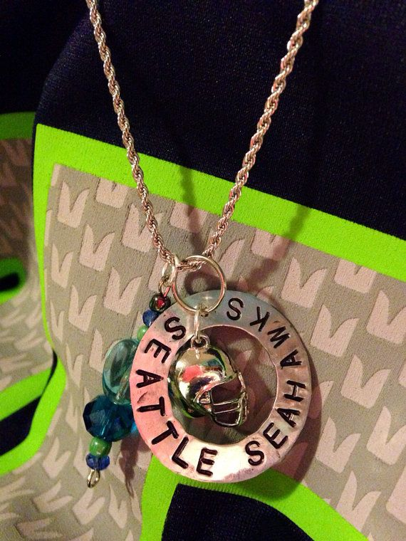 Seattle Seahawks Metal Stamp Necklace