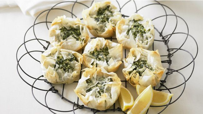 Spinach and ricotta filo pies