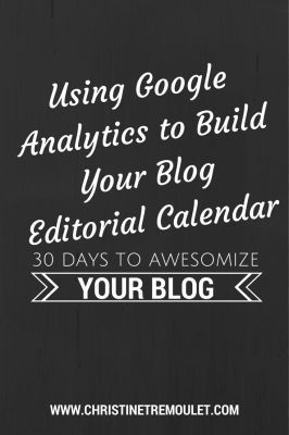 Day 11: Google Analytics is a helpful tool for creating the foundation for you to build your blog editorial calendar on. Here are tips on how to do it! #30DAB from Christine Tremoulet to help you build a Business of Awesome!