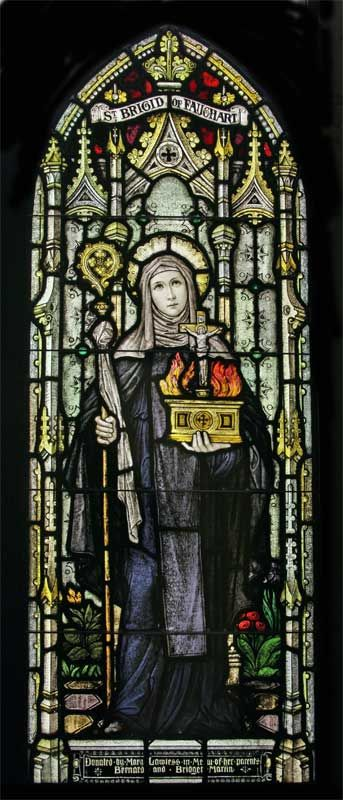Saint Brigid of Faughart stained glass window (Brigid was born in Faughart, Ireland)