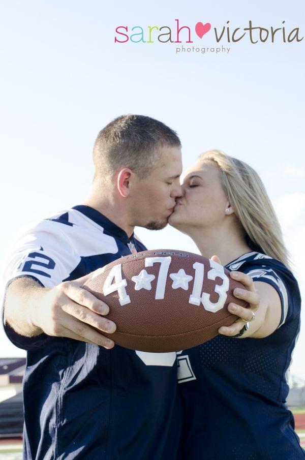 Really cute idea!  football engagements. dallas cowboys.