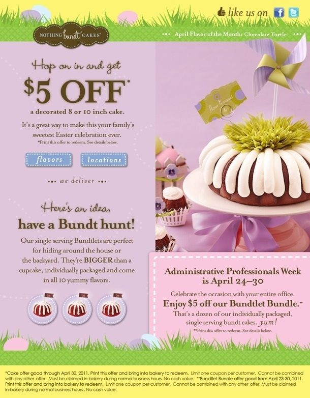 Nothing Bundt Cakes Coupon 2018 : nothing, bundt, cakes, coupon, Nothing, Bundt, Cakes, Coupons, Printable, World, Template, Inside, 201…, Coupon,, Cakes,