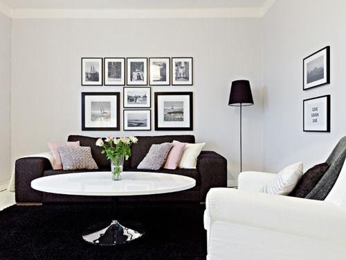 Like the arrangement of the frames.: Living Rooms, Black And White, Modern Rooms, Actually House, Interiors Design, Rooms Theme, Black White, L Rooms, Amazing House