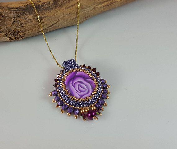 Purple pendant Glamour pendant Statement purple pendant