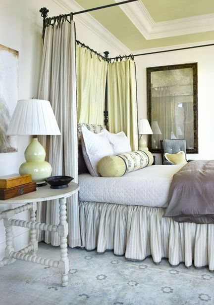 I like the accent color being on the ceiling.Liz Williams, Williams Interiors, Master Bedrooms, Canopies Beds, Bedside Tables, South Shore Decor, Beds Curtains, Decor Blog, Traditional Bedroom