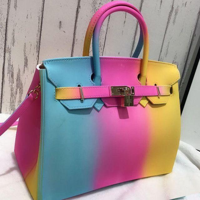 women bag jelly handbags color bolsa panelled lock pvc crossbody casual tote sac color 1 in 2020 satchel handbags rainbow bag jelly purse pinterest
