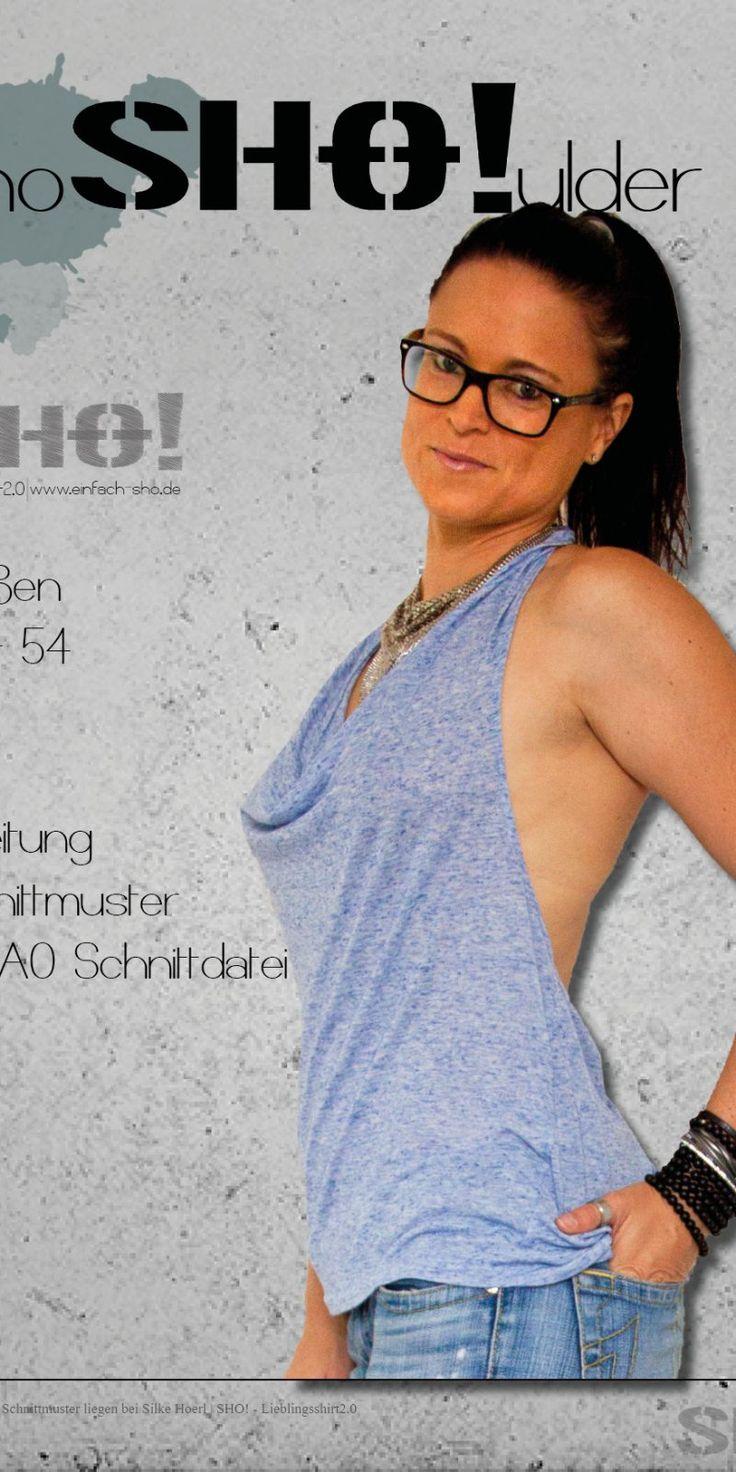 Schnittmuster und Anleitung für ein Neckholder– Shirt mit drei verschiedenen Rücklösungen für Damen mit Wasserfallkragen.