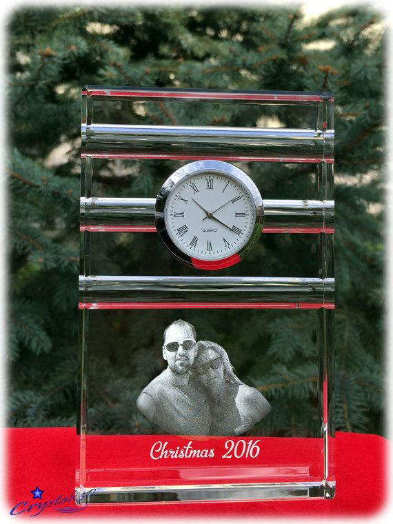 Christmas gift Crystal clock Chirtmas by Crystals3DEngraving