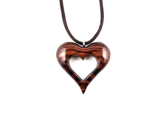 Wood Heart Pendant Wooden Heart Necklace Heart by GatewayAlpha