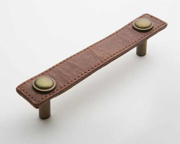 Hepburn Hardware | Tan Leather Handle with Antique Brass Rivets