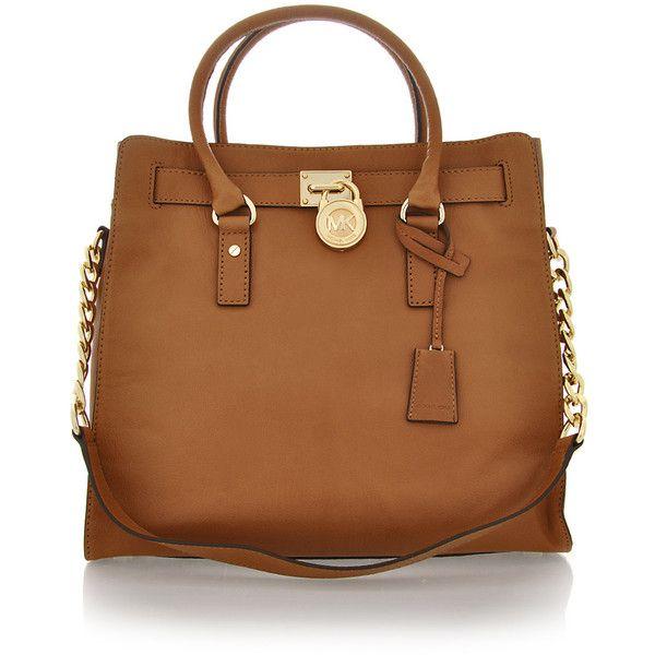 MICHAEL KORS HAMILTON Luggage Leather Bag ($360) ❤ liked on Polyvore