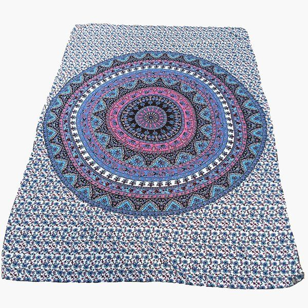 Ethnic Style Blue Arab Totem Yoga Mat Gypsy Cotton Tablecloth Round Beach Towel Shawl Wrap Scarf #shoes, #jewelry, #women, #men, #hats, #watches, #belts