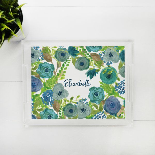 Lucite Tray - Garden Blues, Personalized