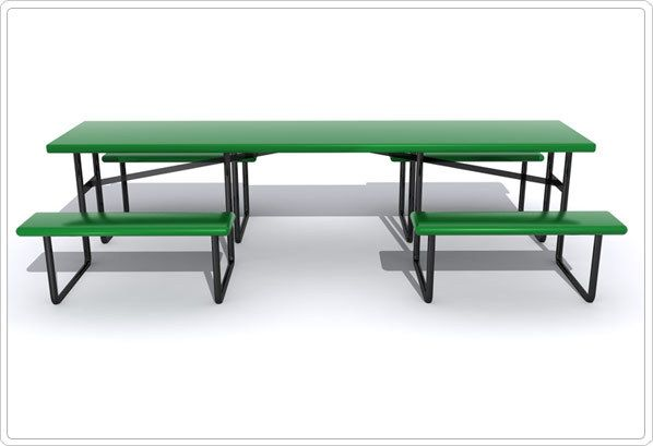 Wheelchair Accessible Picnic Table with a center entry! Perfect for parks, schools, neighborhood gathering areas, camp grounds and much more, the Wheelchair Accessible commercial picnic table is ideal for any areas which must be accessible to people of all-abilities. Check out more at Noah's Park & Playgrounds!