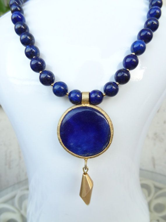 Lapis Lazuli Gold Necklace 8mm Lapis LazuliLapis by sevinchjewelry