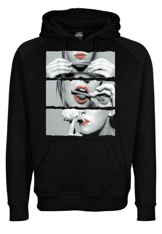 Sexy Red Lips Rolling Cannabis Marijuana Sweatshirt Hoodie in Black for Adults on Etsy, $28.99  www.WeedStatus.com