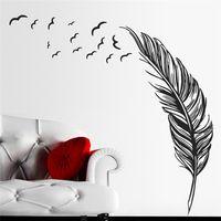 Piuma diy wall sticker natura sala della parete della stanza del corridoio hall decal decorazioni per la casa decorazioni ZQT291