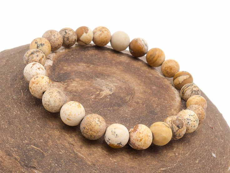 Mens Armbands – Bracelet mala stone jasper – a unique product by Blackif on DaWanda