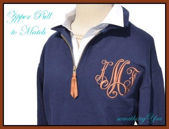Personalized Sweatshirt with Ribbon Zipper by SomethingYouGifts