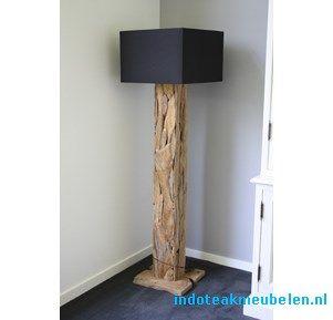 179eu Staande lamp zwerfhout vierkante kap