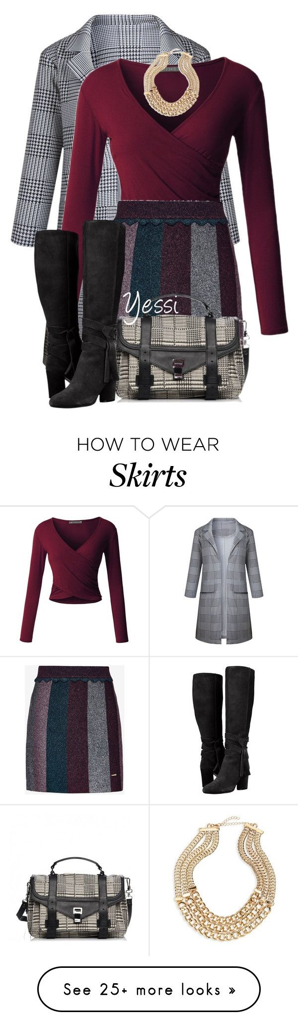 """""""~  Long Jacket with Skirt  ~"""" by pretty-fashion-designs on Polyvore featuring LE3NO, Ted Baker, BP. and Proenza Schouler"""