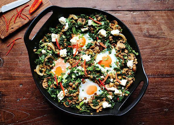 Break from tradition with this North African dish by ditching the tomato for green lentils, kale and lots of freshly chopped parsley