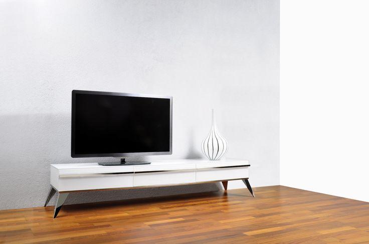 Envy TV #TVstand #design by Ale Design Studio #interiordesign #home #steel #modern #paintedglass #Lestrocasa
