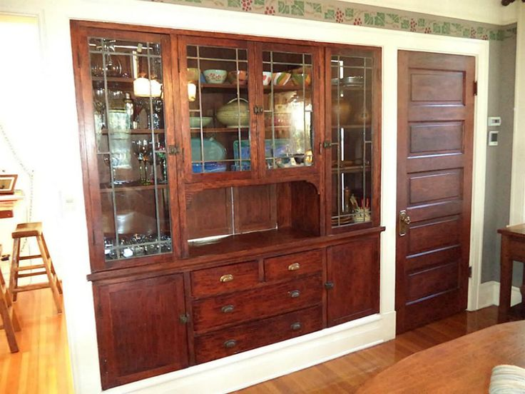 Recessed Hutch With China Cabinet To The Right In Are Pass Through Doors Dining Room