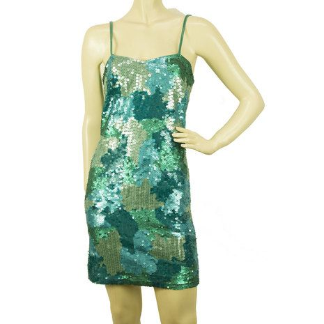 PINKO Turqoise Blue Green Sequins Mini Length Sleevless Dress sz M