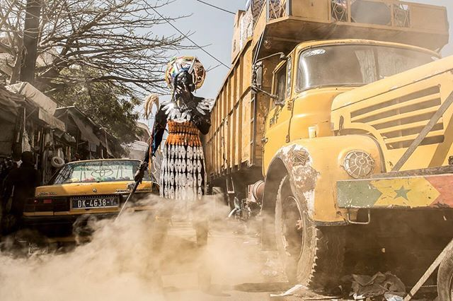 """From the series """"The Prophecy"""" by Fabrice Monterio - on display now @ the Africa Reframed exhibition. We use about 15,000 litres (15kg) of air daily: the quality of air we breathe is vital to our health. But In Dakar and many other African cities the air is loaded with harmful pollutants. Fuel-powered vehicles pollute the air through the release of gases and particles."""