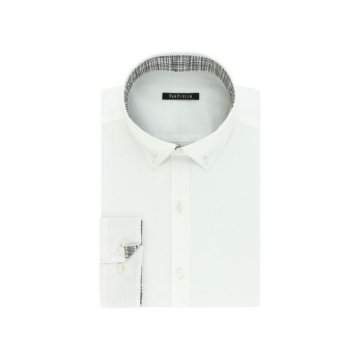 Men's Van Heusen Fresh Defense Slim-Fit Dress Shirt, Size: 15.5-34/35, White Oth