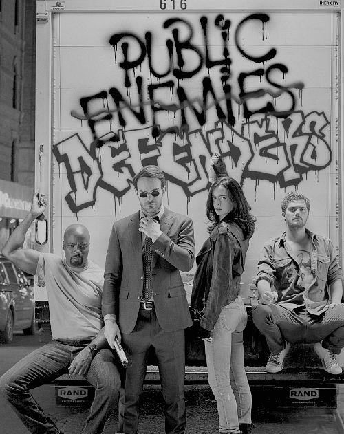 Defenders cast. Luke Cage, Daredevil, Jessica Jones and Iron Fist