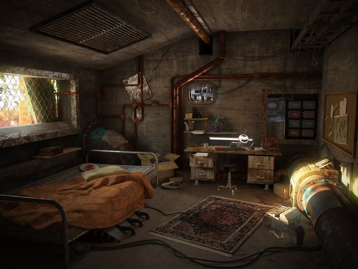 A post apocalyptic room by hrormir concept art for Zombie room decor