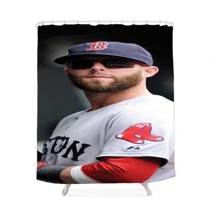 Boston Red Sox Dustin Pedroia Shower Curtain Boston Red Sox