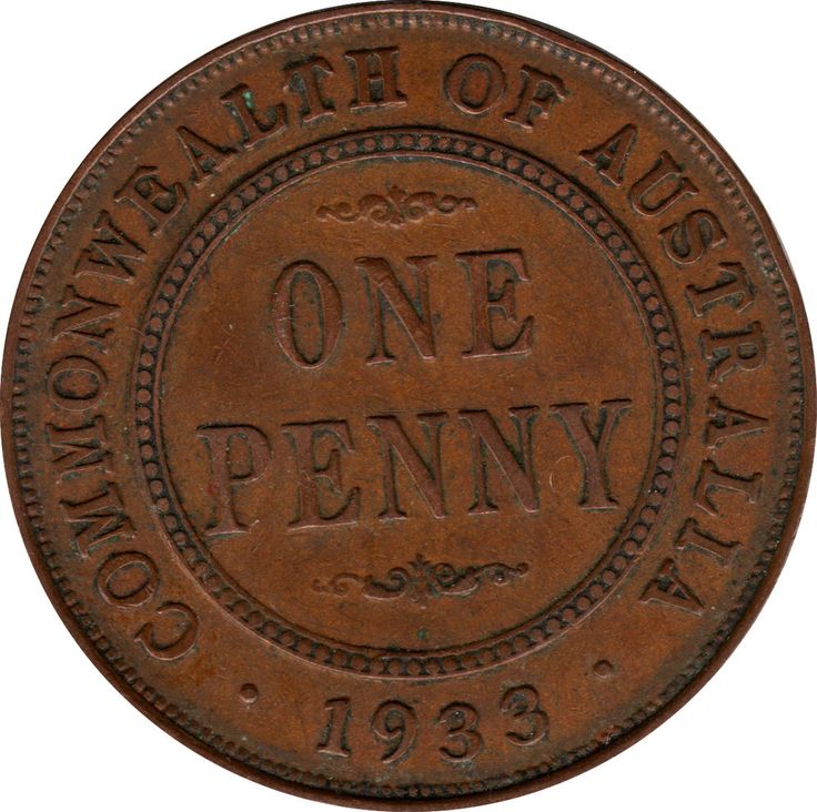 Rare 1933/2 Australia Overdate Penny gVF-EF 7 Pearls GREAT COIN!